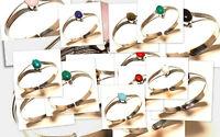 Silver Plated Free Postage Cuff Handmade Coral Mix Gemstone Jewelry 15Pcs
