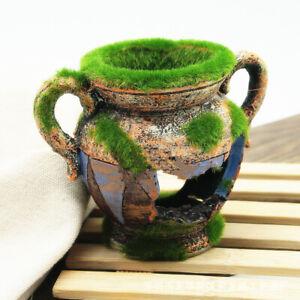 Aquarium Ornament Fish Tanks Landscaping Hiding Cave Moss Vase Decoration Supply
