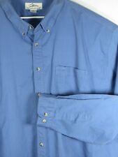 TRI MOUNTAIN 5XL Mens Shirt Blue Long Sleeve Button Front Dress Twill