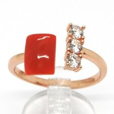ANILLO PLATA 925, ROSA, TRILOGY, CORAL ROJO CABUJÓN, MADE IN ITALY