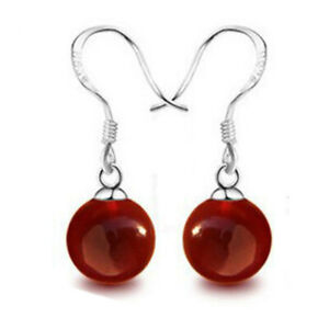 Free Shipping New Fashion Natural Agate Earrings Charm Jewelry Women Gift Red