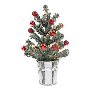 """Philips LED Flocked Mini Xmas Tree Light w/ Red Ornaments 8"""" Battery Operated"""