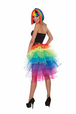 RAINBOW BUSTLE SKIRT FANCY DRESS COSTUME ACCESSORIE ADULT MULTI COLOURED