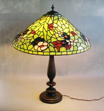 """Massive 24"""" Bigelow & Kennard Stained Leaded Glass Lamp  c. 1910  Signed antique"""