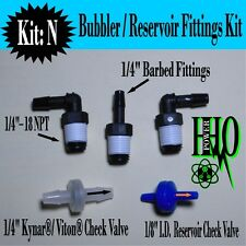 "Reservoir Tank Fittings HHO Bubbler 1//4/"" Barb Fittings;1//4/"" Kynar® Check Valve"