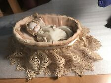 Japan Jointed Bisque Doll In Lace Trimmed Basket Vintage