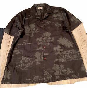 Vintage Chart of the Hawaiian Isles Men's Ss Button Shirt Black Sz L