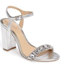0a9ac0f051cdfd Jewel Badgley Mischka Hendricks Block-Heel Evening Sandals Size 9.5 Silver