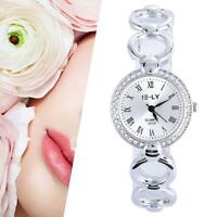 Fashion Women Crystal Stainless Steel Analog Quartz Bracelet Wrist Watch Lady MT