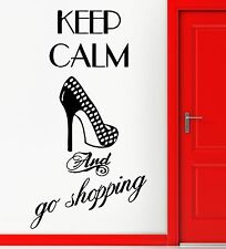 Wall Stickers Vinyl Decal Fashion Quote For Girls Keep Calm Go Shopping (ig1392)