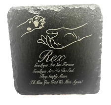 More details for memorial plaque for pet cat dog made from slate personalised grave stone marker