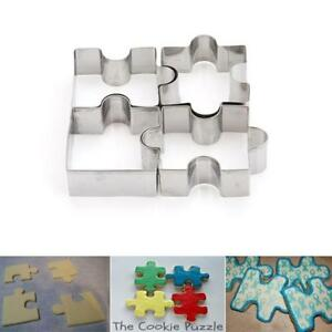 Stainless Steel Jigsaw Pieces Cookie Cutter Set 4pcs Baking Puzzle Shaped SH