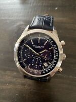 NEW! Men's Stuhrling Rialto 3975L~Blue Leather Band~44mm Blue Dial~Chronograph
