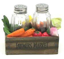 Salt and pepper set Farmer's Market box Glass Sat and Pepper