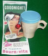 VINTAGE BOURNVITA SLEEPY HEAD CREAM BAKELITE BEAKER+NIGHT CAP! CADBURY'S +ADVERT