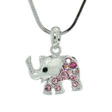 Elephant Made With Swarovski Crystal Luck Charm Animal Pendant Pink Necklace