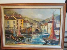 Original IRA ENGLEFIELD OIL PAINTING FRAMED BOATS AND SAILING SHIPS
