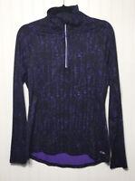 C9 CHAMPION Womens S/P Duodry 1/4 Zip Running Top Thumbholes Purple Black Print