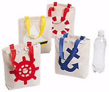 12 NAUTICAL SAILOR ANCHOR tote bags CANVAS NEW Nautical Birthday Luau party Bags