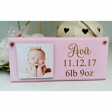 Personalised baby photo wooden tile birth keepsake shabby sign plaque chic gift