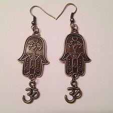Bronze Hamsa Hand Ohm Charm Earrings - Christmas Gift - US Seller