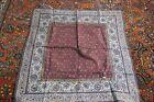 "Antique Persian Islamic Block Print Paisley Textile, 32"" x 32"" Square"