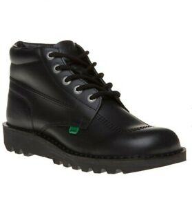Kickers Kick HI Black Leather Unisex Ankle Boots UK Size 8