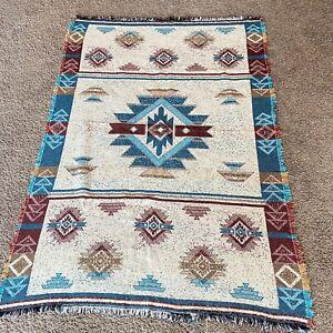 Vintage Southwest Aztec Indian Navajo Blanket Woven Knit Cotton Arizona
