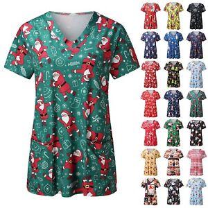 Christmas Women Nursing Uniform Scrub V-neck Short Sleeve Top Pocket Blouse