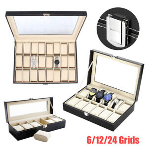 12/24 Grids Slot Watch Display Storage Box Jewelry Collection Case Organiser