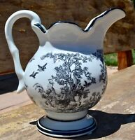 Japanese Transferware White and Black Pitcher - chickens and forrest