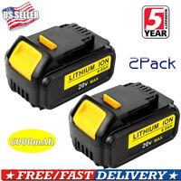 2XFor Dewalt DCB204-2 20V 20 Volt Battery Max XR 6.0Ah Lithium Ion DCB205 DCB200