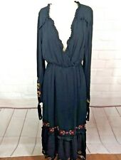 Black embroidered dress Bohemian S