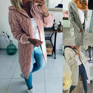 Womens Chunky Cable Knitted Oversized Longline Hooded Cape ladies Cardigan