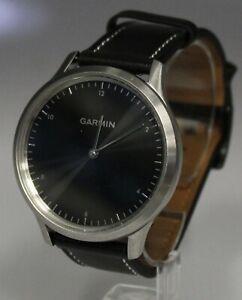Garmin Vivomove HR Premium Smart Watch Silver Tone with Black leather band