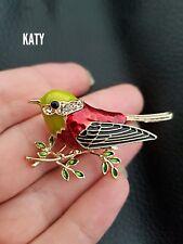 Vintage Style Gold Tone Red Robin Bird Green Enamel Brooch Diamante Pin Broach