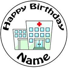 "Médecin infirmière hôpital personnalisé rond 8"" icing cake topper-pre-cut"