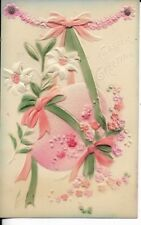easter greating, pink raised relief egg with lilies early 1900s