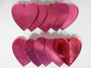 Pink Heart Shaped Acrylic Mirrors 5cm, 3mm thick, no hole, x 10