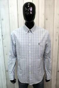 Camicia Ralph Lauren Uomo Taglia XL Chemise Shirt Cotone Manica Lunga Logo Man
