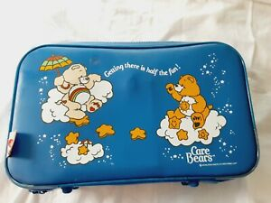 Vintage Care Bears Small Blue Travel Suitcase Overnight Luggage Clouds & Night