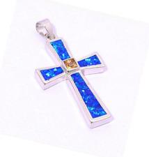 Woman Fashion 925 Silver Jewelry Cross Fire Opal Charm Pendant Necklace Chain ~!