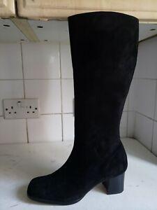 ACCENT DESIGNER BLACK LEATHER SUEDE LOW HEELS KNEEHIGH WINTER BOOTS UK 6 EU 39