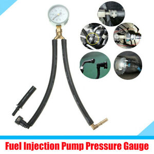 SUV Car Fuel Injection Pump Pressure Gauge Tester with Tube Adapter Clamp Kit