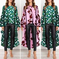 VONDA Women Asymmetric Plus Size High Low Floral Tops T-Shirt Blouse Long Sleeve