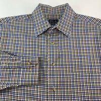 Jos. A. Bank Travelers Mens Button Front Dress Shirt Blue Green Long Sleeve  M