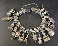 Vintage Sterling Silver Mechanical Charm Bracelet Shakespeare Stein Bird Cage