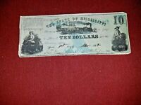 1862~ $10 CSA Mississippi ~ Scarce Blue Faith State Pledged Note