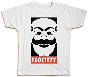 FSociety T-Shirt Mr Robot Mask Elliot TV Show Top Gift Present