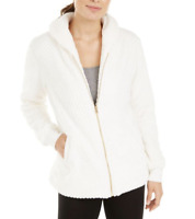 Ideology NWT $79 Womens Quilted Fleece Jacket in White, M    WB67